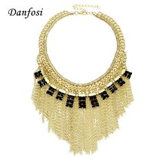 a51c33af89b7 Danfosi Fashion Choker Necklace For Women Gold Color Zinc Alloy Chains  Tassels Acrylic Beads Statement Jewelry Dress Accessories
