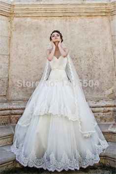 A Line 2015 New Arrival Beaded pleats crystals sheer Fold Pearls Tulle Lace Bridal Gowns Rhinestone Applique Wedding Dresses