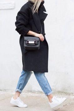 black camel coat + mom jeans + white sneakers