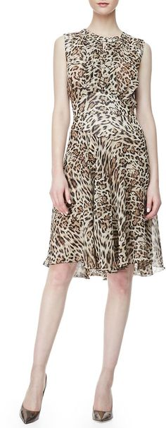 LAgence Leopard-Print Chiffon Dress