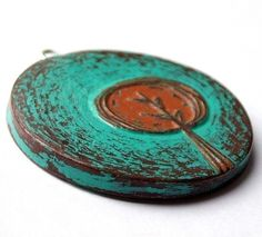 tree pendant - brown polymer clay with turquoise and rust red acrylic paint
