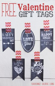 Free Printable Valentine Gift Tags in Chalkboard and Color Versions - SohoSonnet Creative Living