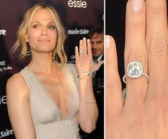 Molly Sims: Molly Sims accepted a custom-designed Lorraine Schwartz cushion-cut diamond from Scott Stuber in May 2011.  #celebstylewed #weddings @celebstylewed