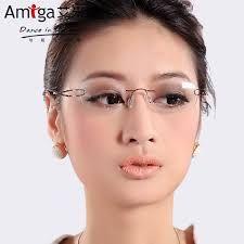 titanium rimless glasses myopia glasses female eye box f. Fake Glasses, New Glasses, Girls With Glasses, Glasses Frames, Round Lens Sunglasses, Cute Sunglasses, Sunglasses Women, Titanium Glasses, Rimless Glasses