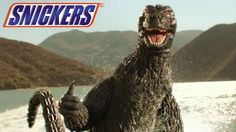 Godzilla Snickers commercial shows creature's sweeter side.  The new Godzilla movie presents a much darker side to the rubber costumed creature but a new Snickers commercial reveals that just because he's hungry. Godzilla turns out to be just one of the guys. Brozilla hangs out at the beach picking up girls.  #tv #commercial #funny #godzilla #bro http://l7world.com/2014/03/godzilla-snickers-commercial.html