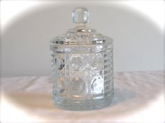 Glass Lidded Dish Pressed Glass Lidded Container by LasLovelies