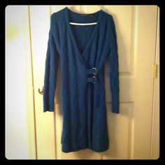 """Blue Wrap Sweater w/Buckles Blue Wrap Sweater with two brass buckles.  Size: M, by """"Heather B"""".  Excellent Condition. Heather B Sweaters"""