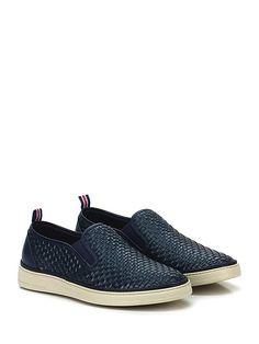 BRIMARTS - Sneakers - Uomo - Sneaker in pelle effetto intrecciato con inserti elsticizzati su ambo i lati e suola in gomma. Tacco 25, platform 15 con battuta 10. - NAVY - € 149.00