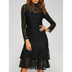 26.64$  Watch here - http://diy52.justgood.pw/go.php?t=199229103 - Flounce Hem See-Through Lace Dress 26.64$