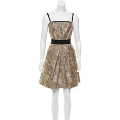 Pre-owned D&G Brocade Mini Dress ($75) ❤ liked on Polyvore featuring dresses, black, short dresses, pocket dress, brocade dress, exposed zipper dress and ribbon dress