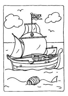 Coloriage d'un bateau pirate naviguant en haute mer