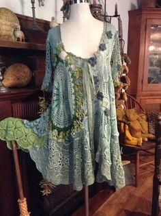 Luv Lucy Crochet Dress  Lucys Caribbean Dream  Dress Tunic - Not with crochet doilies but over dyed silks