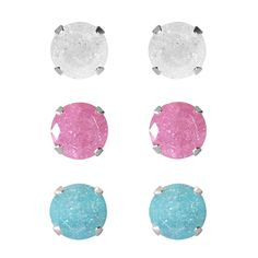 Set of 3-pair Sterling Silver 6.25-mm / Pink/ Turquoise Ice Cubic Zirconia Stud Earrings, Women's