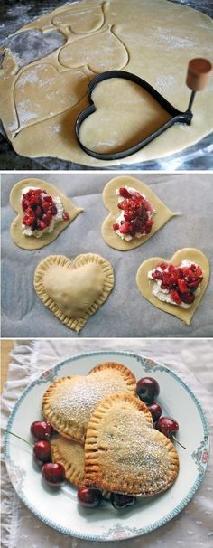 This recipe for Heart-Shaped Mini Pies & Pie Pops makes sweets that are delicious as they are cute! Choose from two filling options or make up your own! Yummy Treats, Sweet Treats, Yummy Food, Just Desserts, Dessert Recipes, Tea Party Recipes, Tea Party Desserts, Pie Pops, Mini Pies