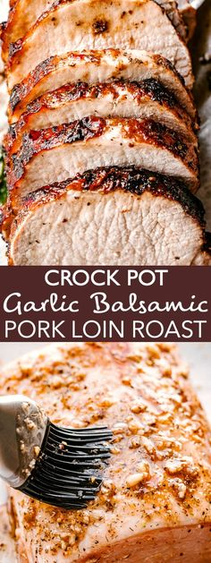 The most incredible Crock Pot Pork Loin you will ever taste! This recipe is totally easy and makes fall apart tender, juicy, and flavorful pork loin roast! recipes crockpot crock pot The Most Incredibly Flavorful Crock Pot Garlic Balsamic Pork Loin! Beste Burger, Pork Tenderloin Recipes, Crockpot Pork Sirloin Roast, Pork Loin Marinade, Pork Loin Recipes Slow Cooker, Pork Roast Recipes, Comfort Food, Slow Cooker Chicken, Cooker Recipes