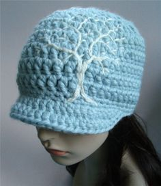 Brimmed Beanie with Embroidered Tree  Light Blue and by LoveFuzz, $38.00