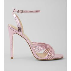New Look Pink Metallic Multi Strap Heeled Sandals ($38) ❤ liked on Polyvore featuring shoes, sandals, pink, ankle tie sandals, ankle strap sandals, pink high heel sandals, high heel shoes and heeled sandals
