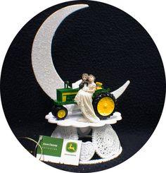 Country Western John DEERE Tractor Wedding Cake Topper Farmer Barn Theme or glasses, Knife or book