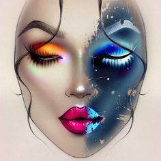 Sergey X ( created this beautiful day and night /fire and ice face chart using Illamasqua cruelty free makeup sealing gel Maquillage Halloween, Halloween Makeup, Ice Makeup, Photographic Makeup, Mac Face Charts, Makeup Themes, Art Visage, Makeup Illustration, Makeup Face Charts
