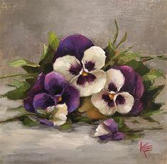 """Daily Paintworks - """"Peaceful Pansies"""" - Original Fine Art for Sale - © Krista Eaton"""
