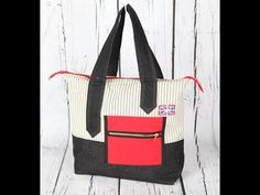 Look at way she does her frong pocket_ inside pockets in bag Britannia 1 - handbag / totebag, with slip and zip pocket - YouTube