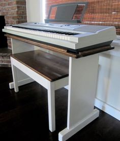 Diy Keyboard Stand Fresh Custom Keyboard Stand and Bench Steady &amp by Keenancustoms Piano Table, Piano Desk, Piano Bench, Piano Room, Keyboard Piano, Furniture Projects, Home Projects, Diy Furniture, Painting Furniture