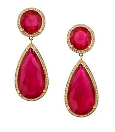 Faraone Mennella: Yellow gold Pear drop ruby earrings with diamonds Ruby Earrings, Ruby Jewelry, High Jewelry, Jewelery, Women Jewelry, Ruby Pendant, Star Pendant, Emerald Rings, Fantasy Jewelry
