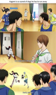Kagami is so scared of dogs he has to run away ... and crawl away ... and threaten Kuroko to keep it away from him.  - Kuroko no Basket