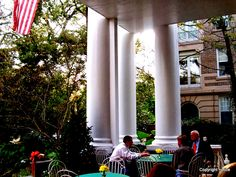 Columns on the porch of the Columns Hotel - St. Charles Avenue - New Orleans, Louisiana