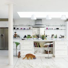 Kitchen island- huge- love the drawers for storage