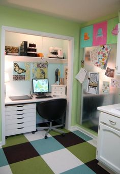 Home Office & Workspace, Amazing Building A Desk In A Closet With White Desk With Drawers Black Chairs Computer Unit Wall Art Gallery Area Rug Cool Desk In A Closet Designs: What a Briliiant Idea when You Building a Desk in a Closet Design