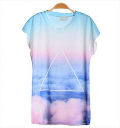 T-shirt,featuring round neck,short sleeves,in tie-dye triangle sky print,in casual style. One size: Cotton Gentle machine wash cold. T Shirt Polo, Graphic Tee Style, Graphic Tees, Galaxy T Shirt, Great T Shirts, Shirt Shop, Long Sleeve Shirts, Shirt Designs, Tie Dye