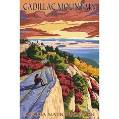 Acadia National Park, Maine - Cadillac Mountain - Lantern Press Artwork (Acrylic Serving Tray)