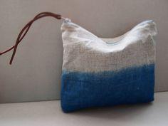 Ombre Pouch Indigo   Large Indigo Blue Linen Purse by JeanieDeans, $28.00