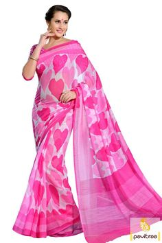 Amazing design with light pink cotton printed saree for casual wear online and get discount price offer. It is decorated hart shape block printed on full saree. #cottonsaree, #designersaree, #printedsaree, #casualwearsaree, #sareewithborder, #cheappricesaree, #discountoffer,   #pavitraafashion, #utsavfashion, #onlinesareeshopping, #heartshapeprintsaree http://www.pavitraa.in/store/casual-saree/  callus:+91-7698234040