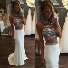 Sexy Two Pieces Jewel Pageant Party Prom Dress Cocktail Evening Formal Gown 2016 in Clothing, Shoes & Accessories, Wedding & Formal Occasion, Bridesmaids' & Formal Dresses | eBay