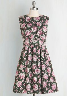*LIMITED* Swapping for another Emily and Fin Size XXS Too Much Fun Dress in Hydrangeas by Emily and Fin - Multi, Green, Pink, Floral, Pockets, Work, Daytime Party, 50s, 60s, Sleeveless, Best Seller, International Designer, Vintage Inspired, Cotton, Spring, Mid-length, Fit & Flare