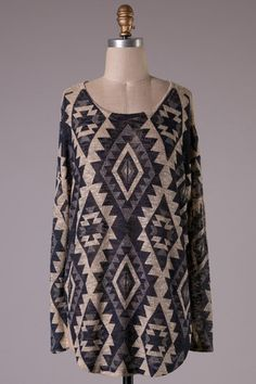 Navy and Taupe Aztec Tunic Top – Texas Two Boutique
