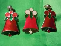 Vintage Bell Pierced Earrings, and Pin