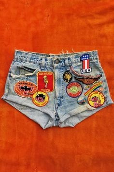 The Devil Made Me Do It Customized Levi's Orange Tab Shorts