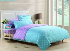 Comfortable Bedroom Ideas For Teenage Girls With Teal Polkadot Blanket