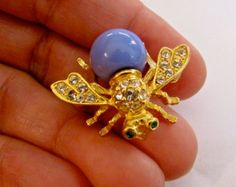 Vintage JOAN RIVERS BEE Denim Blue & Clear Rhinestone Insect Gold Tone Pin Brooch ~ Signed Costume Jewelry