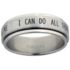 I Can Do All Things Stainless Steel Spinner Ring Forgiven Jewelry. $12.02. Stainless Steel Spinner Ring. I can do all things through Christ who strengthens me. Philippians 4:13. Brushed Metal finish