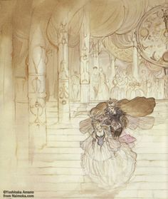 enchantingimagery: An illustration by Yoshitaka Amano for Cinderella, from the art-book Marchen. From here- http://yoshitaka-amano.kouryu.info/page_eng.html