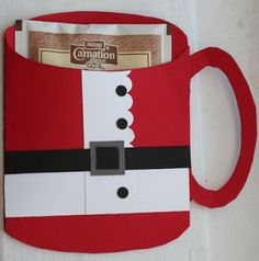Party Frosting: Great invite or party favor (or just give on gifts)  Santa Claus hot cocoa holder ~ Christmas Ideas/inspiration~ leave off the handle and use as a card too..