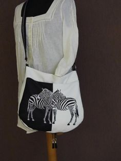 Bag with zebra free embroidery