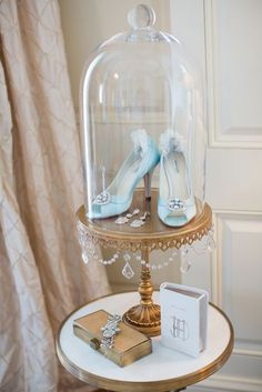 A Regal, Marie Antoinette Themed Wedding at the Cosmos Club in Washington, D. - Bridal Accessories Displayed in Glass Cloche Cinderella Sweet 16, Cinderella Theme, Cinderella Birthday, Cinderella Wedding, Disney Theme, Disney Sweet 16, Cinderella Slipper, Wedding Disney, Quince Decorations