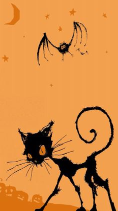 Cat and bat skeleton Halloween Boo iPhone 6 wallpaper 2014 - stars Halloween Images, Halloween Boo, Halloween Cards, Vintage Halloween, Halloween Decorations, Halloween Backgrounds, Halloween Wallpaper, Samhain, Dibujos Dark