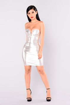 Galaxy Glow Metallic Dress - Silver