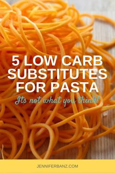 Discover 5 low carb substitutes for pasta. You would be surprised what you can use to substitute pasta with in your meals!